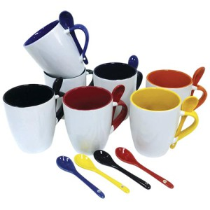 345ml Ceramic Mug with Spoon - PDC/G/LWR-U6NJM - Image 1