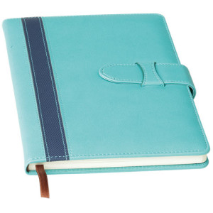 A5 Contrast Stripe Notebook with Tuck Flap - PDC/G/TW8-4OMGS - Image 2